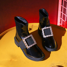 Fashion Crystal Ankle Boots Women Glitter Leather 2019 New Fall Brand Bling Black Soft Slip On Punk Boot