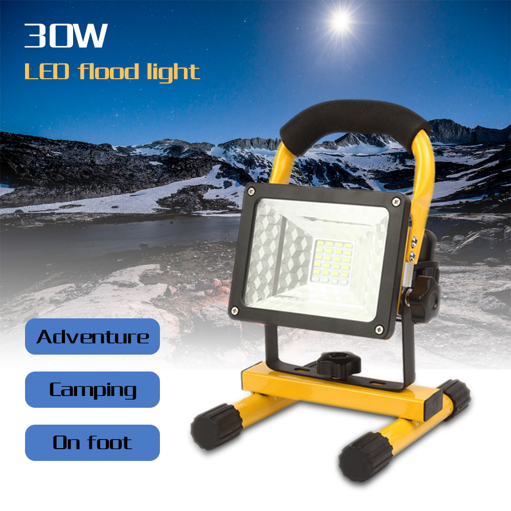 30W 24 led Rechargeable Floodlight Waterproof Outdoor lights with charger By 18650 Battery construction Spot lamp emergency Lamp