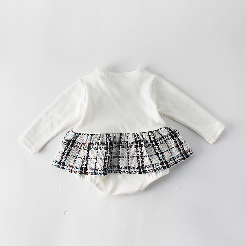H568e011a73c2481da89fce48a9682c952 Fashion Baby Rompers for Girls Plaid Infant Jumpsuit Baby Girl Romper with Coat Baby Onesie Toddler Clothes Baby Costume