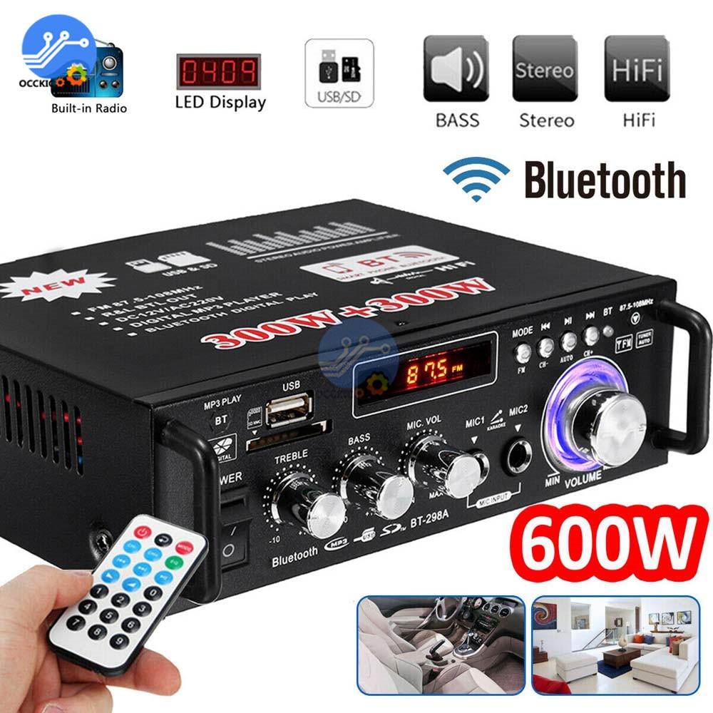 600w amplificador bluetooth 300w + 300 2ch de alta fidelidade áudio estéreo power amp usb fm rádio do carro teatro em casa com controle remoto