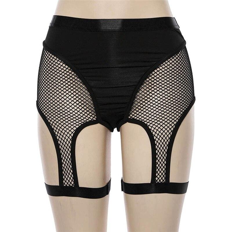 Women Sexy Mesh Patchwork Shorts Hollow Suspender Garter Belt Holder Dance Shorts Black