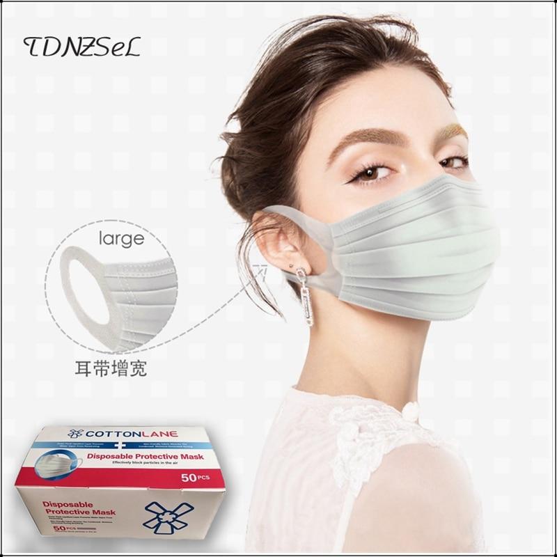 Adult Men Women Covid-19 Disposable Protective Mask Solid Color White 20 Pcs Masks Big Size Dust Antiviral 50 Pcs Mouth Mask