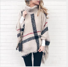 Women's sweater Cape 2020 spring autumn winter knitting medium long high collar fringe loose Cape