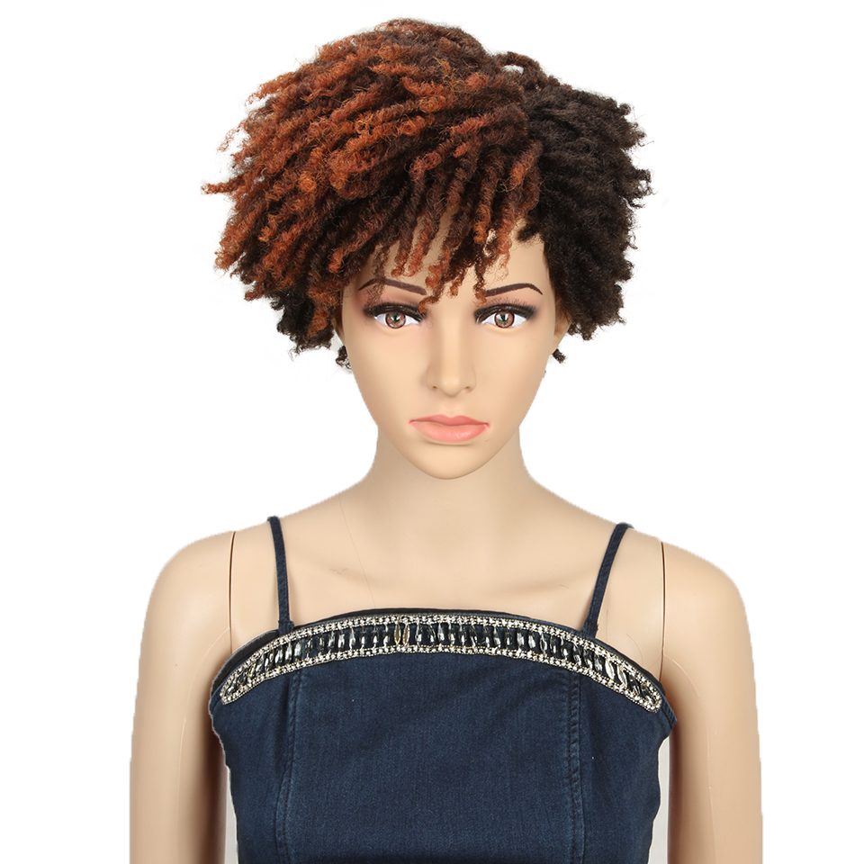 Magic 10inches Afro Kinky Curly Wig Synthetic Short Wig With Bangs Mixed Brown And Blonde Wig For Black Women