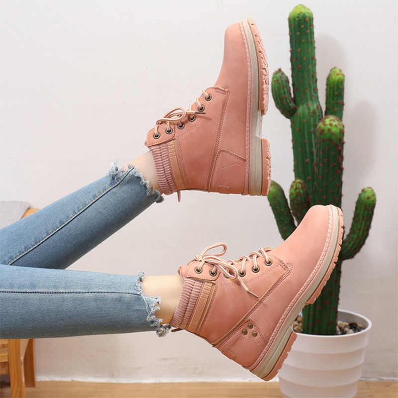 KHTAA sonbahar kış kadın ayak bileği bağcığı botları bayan deri yuvarlak ayak bayanlar konfor platformu kadın moda bayan ayakkabı rahat