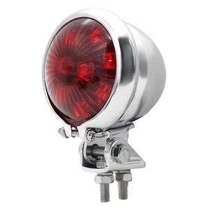 Image 5 - Escudo de metal freio parar lâmpada para cruiser moto dupla moto lanterna traseira 12v retro cruiser motocicleta led lanterna traseira