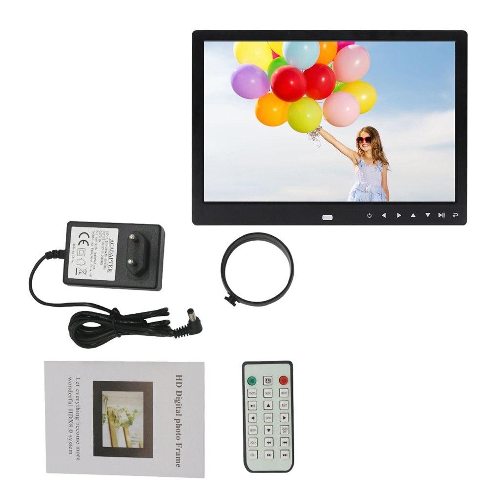 12 дюймовая цифровая фоторамка, электронное изображение, рамка 1280*800 с часами, календарем, дистанционное управление, встроенный динамик, разрешение