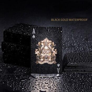 2 set/lote Poker impermeable de plástico creativo oro negro de papel de tablero de naipes juego plástica lavable cubierta de cartas de Poker