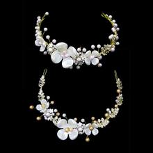 Bridal Jewelry Handmade Headdress Imitation Pearl Alloy Beaded Baroque Bride Crown Wedding Hair Accessories(China)