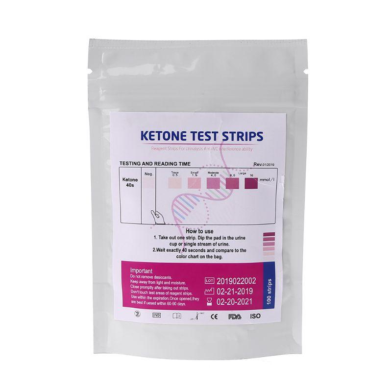 1Set 100pcs URS-1K Test Strips Ketone Reagent Testing Urine Anti-vc Urinalysis Ketosis Tests Analysis Professional FastTest