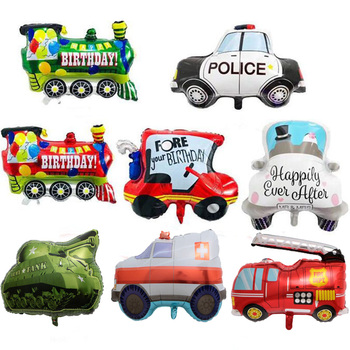 Big Pickup Trucks Tank Train Police Cars Foil Balloons Happy Birthday Party Decorations Fire Car Children's Balloon Boys Toys image