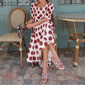 Plus Size Womens Summer Sundress ZANZEA Square Neck Midi Vestidos Stylish Polk Dot Printed Dress Female Short Sleeve Robe 5XL