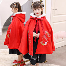 Girl's Embroidery Hanfu warm Cape winter Long Cloak Chinese Children Style Mantle Kids Christmas Hooded Capes New Year's Outfit(China)