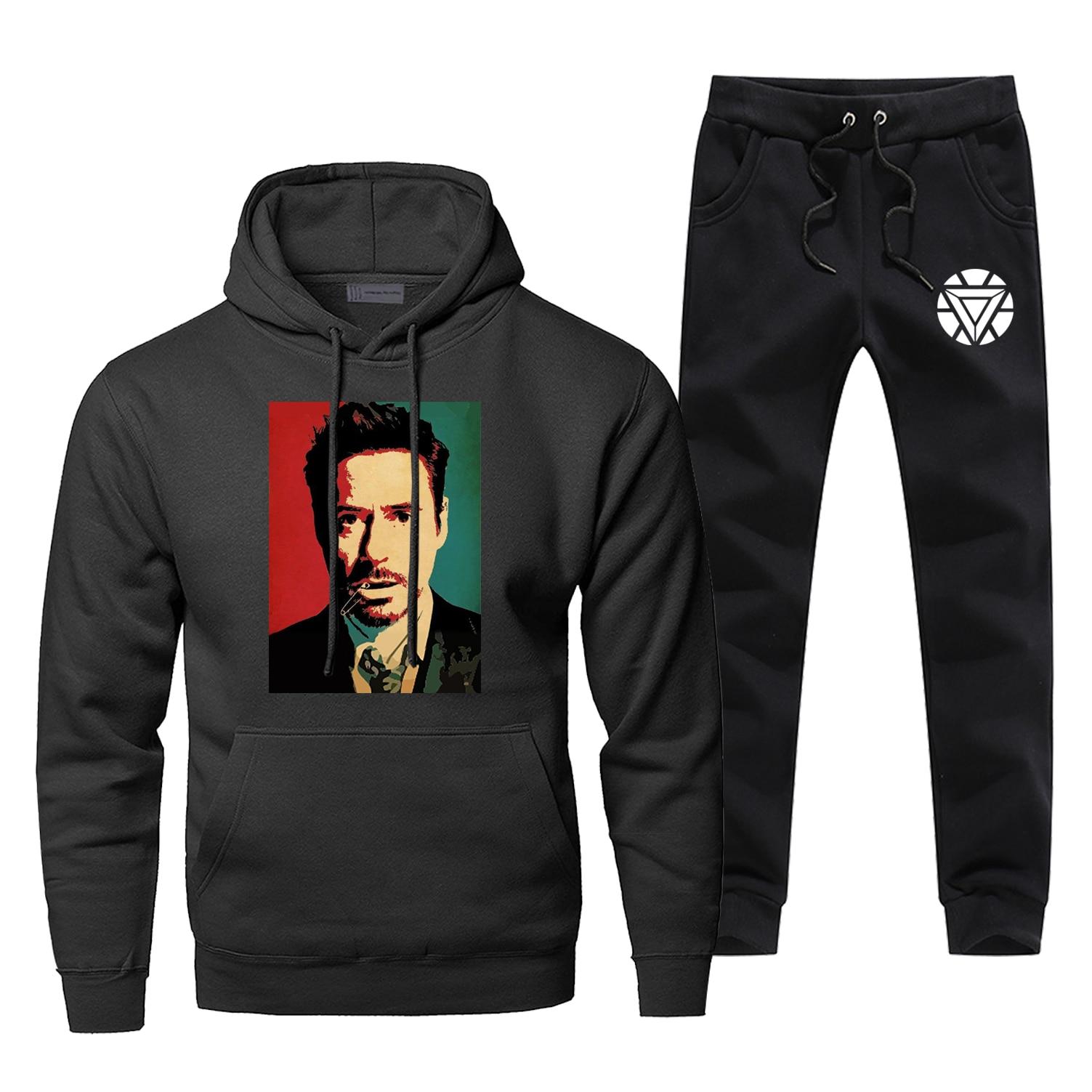Tony Stark Iron Man Hoodie Pants Set Men Sweatshirt Male Hoodies Sweatshirts Mens Sets Two Piece Pant Pullover Super Hero Coat