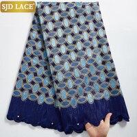 SJD LACE-tela de encaje de gasa suiza de alta calidad, tejido de algodón africano de 5 yardas con estilo Dubái de agujeros para costura de ropa nigeriana A2324