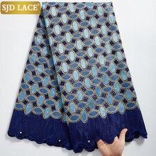 Pizzo SJD pizzo Voile svizzero di alta qualità 5 metri tessuto di pizzo di cotone africano con foro stile Dubai per abbigliamento nigeriano cucito A2324