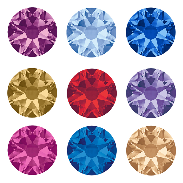 YANRUO 2088NoHF 8 Big 8 Small Non Hotfix DIY Strass Crystal Rhinestones Stick On Nail Art Decorations DIY Needlework Clothes 1