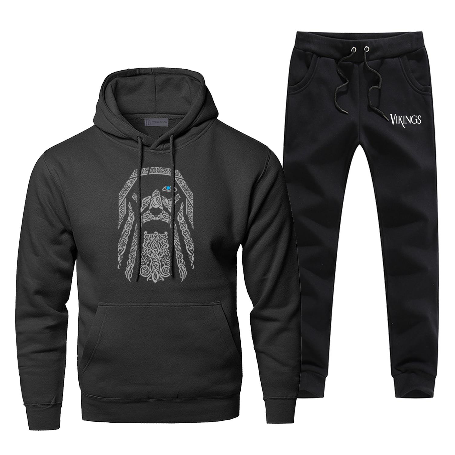 Odin Vikings Hoodies Pants Men Sets Track Suit  Valhalla Athelstan Tops Pant Sweatshirt Sweatpants Autumn Sports 2 PCS Tracksuit