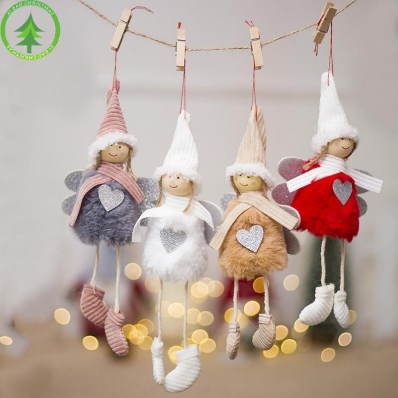 New Fashion Christmas Creative Kawaii Doll Pendant Tree Decoration Angel Xmas Plush Dolls Home Cute Party Decor