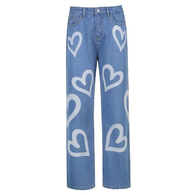 Vintage Heart Printed Y2K Baggy Jeans  6