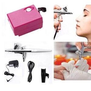 Airbrush Makeup Kit With Mini Air Compressor Single Action Aerograph Set Temporary Tattoo Face Body Paint Nail Art Air Brush Set(China)