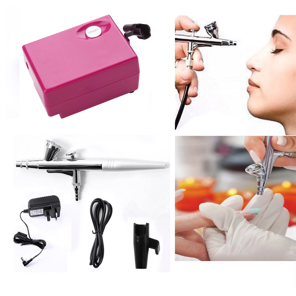 Airbrush Makeup Kit With Mini Air Compressor Single Action Aerograph Set Temporary Tattoo Face Body Paint Nail Art Air Brush Set