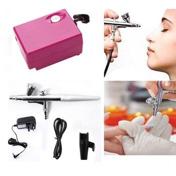 цена на Airbrush Makeup Kit With Mini Air Compressor Single Action Aerograph Set Temporary Tattoo Face Body Paint Nail Art Air Brush Set