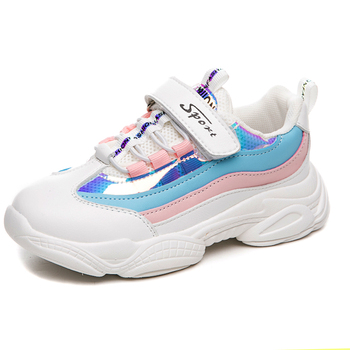 Kids Leather Shoes Girls Sport Sneakers Children Mesh 2019 Autumn Shoes Mixed Colors Shoes Trainer Running Sports Sneaker