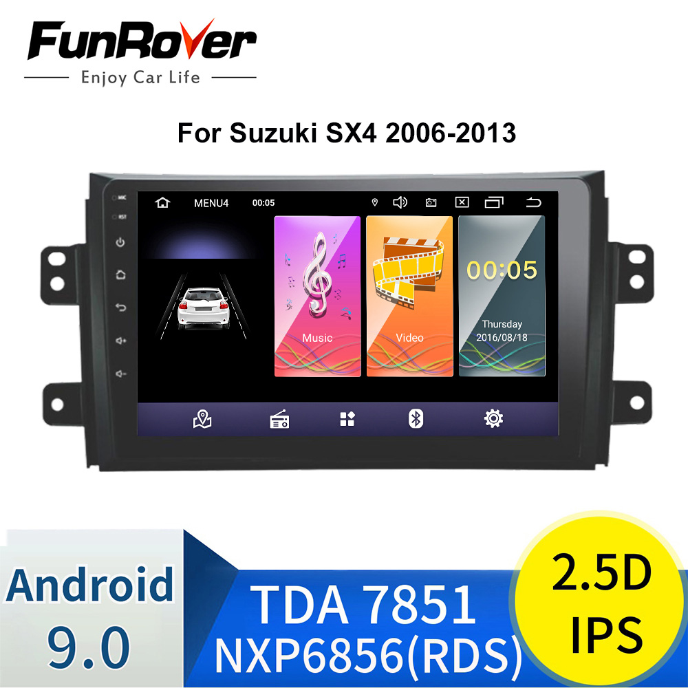 Funrover android 9.0 2.5D+IPS Car radio <font><b>gps</b></font> navigation dvd Player for <font><b>Suzuki</b></font> <font><b>SX4</b></font> 2006-2013 Car <font><b>multimedia</b></font> audio Player Quad Core image