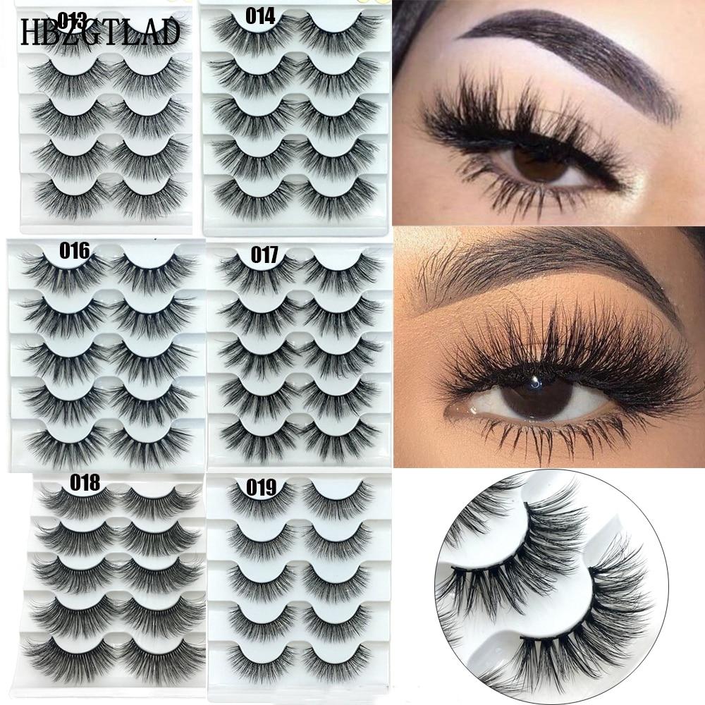 2-5Pairs Faux Mink Hair False Eyelashes Natural Wispy Lashes Handmade Cruelty-free Criss-cross Eyelash Extension Big Eyes Makeup