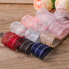 100yards 10 16 25 40mm stitched stripes organza sheer ribbon for bouquet flower packing bow wedding party craft supplies 100yards 10 16 25 40mm stitched stripes organza sheer ribbon for bouquet flower packing bow wedding party craft supplies