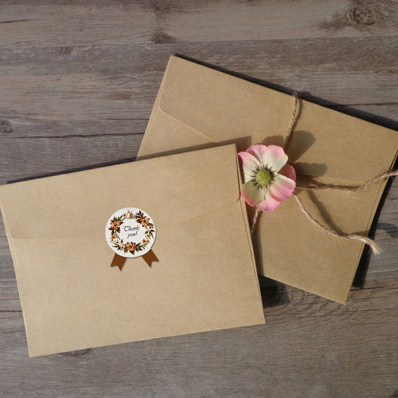 60 Sheets 720Pcs Handmade Thank You Floral Wreath Stickers Ribbon Bowtie Design Round Adhesive Labels for Wedding Party