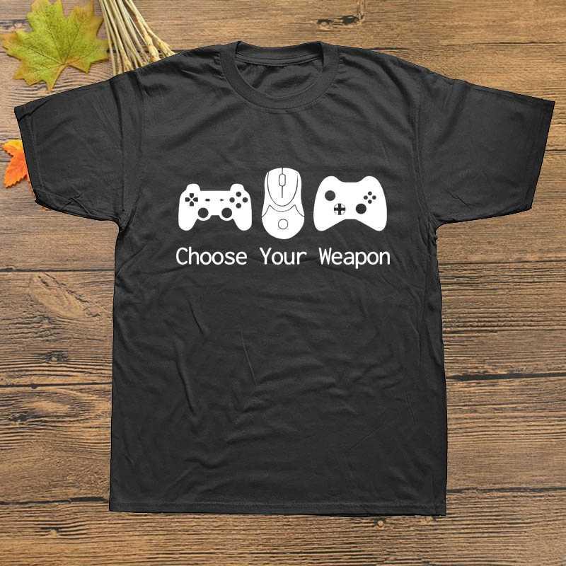 Nova manga curta camiseta masculina escolher sua arma gamer t camisa controlador de jogos de vídeo camiseta verão 100% algodão