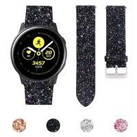 22mm 20mm Glitter Bling Leder Strap für Samsung Galaxy Uhr 3 Band 41mm 45mm 42mm 46mm Aktive 2 1 Armband Pailletten Uhr Gürtel