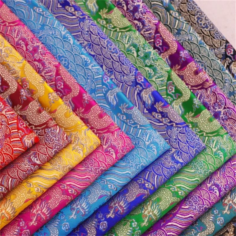 Brokat jacquard stoff satin stoff mit drachen muster material für cheongsam und kimono