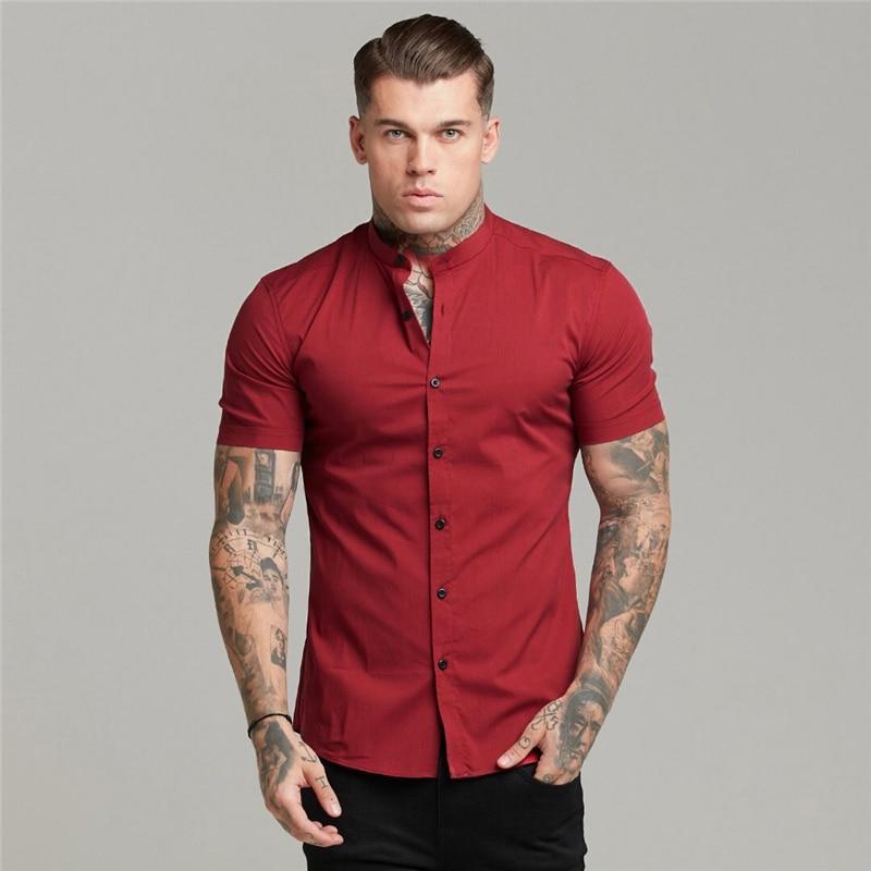 New Summer Man Short Sleeve Shirt Solid Fitness Mens Stand Collar Super Slim Fit Business Dress Shirt Button Gym Clothing
