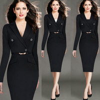 2019 Autumn And Winter Dress V neck Sexy Slim Elegant Office Dress Plus Size 4xl Black Retro Long sleeved Women Suit Dress