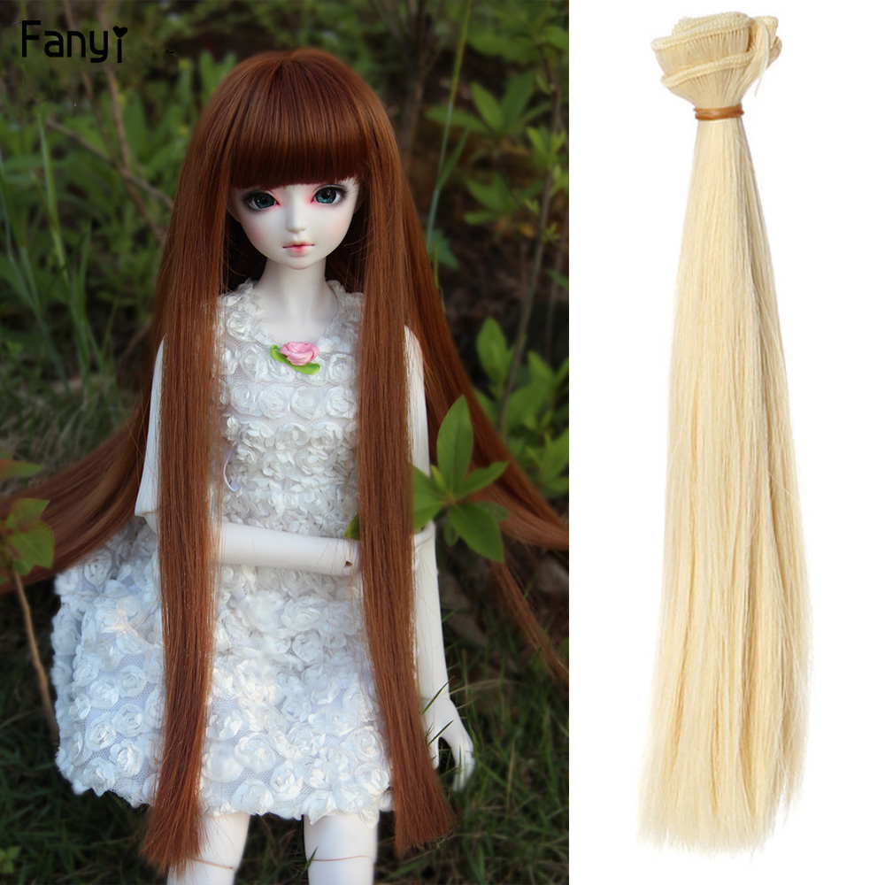 New Arrive 25cm Doll Wig Hair Straight Pure Color Diy Tresses For BJD SD And American 18 ' Girl Doll Long Hiar Doll Accessories