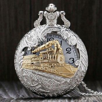 Vintage Pocket Watch Gold Thin Chain Hollow Locomotive Pocket Watch Head Flip Black Quartz Pocket Watch карманные часы 50* карманные часы на цепочке pocket watch reloj bolsillo p341 p342 p341c p342 pocket watch