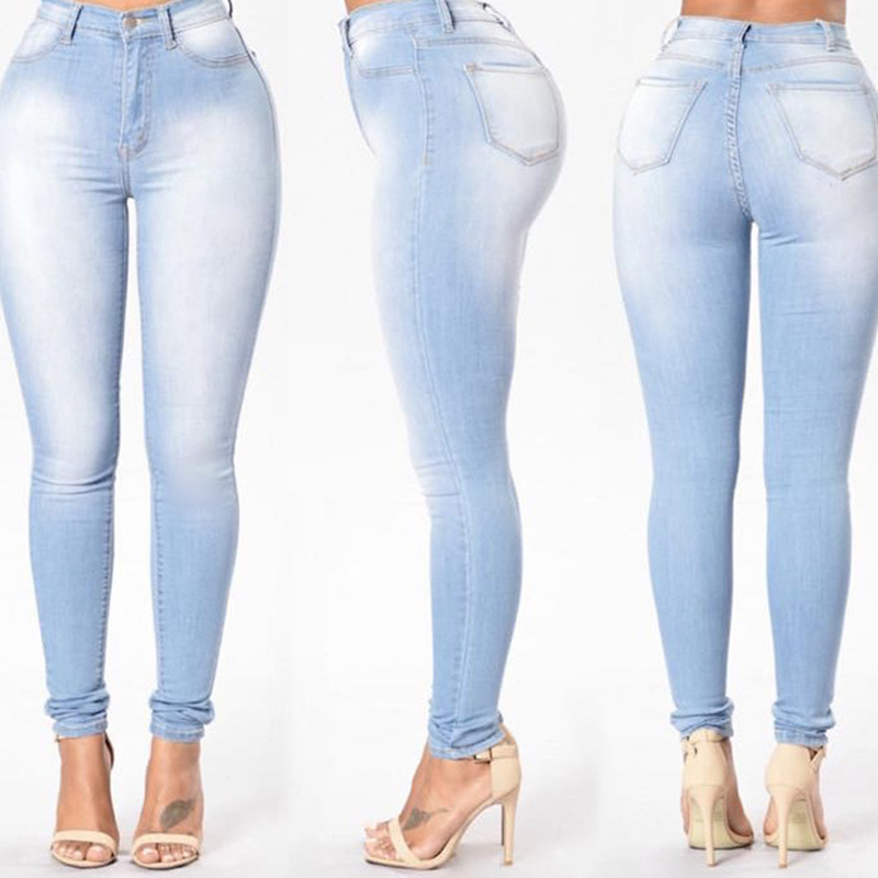 Women's Grinding White Elastic Skinny Stretch Jeans Plus Size 3XL High Waist Jeans Washed Casual Denim Pencil Pants Women Jeans