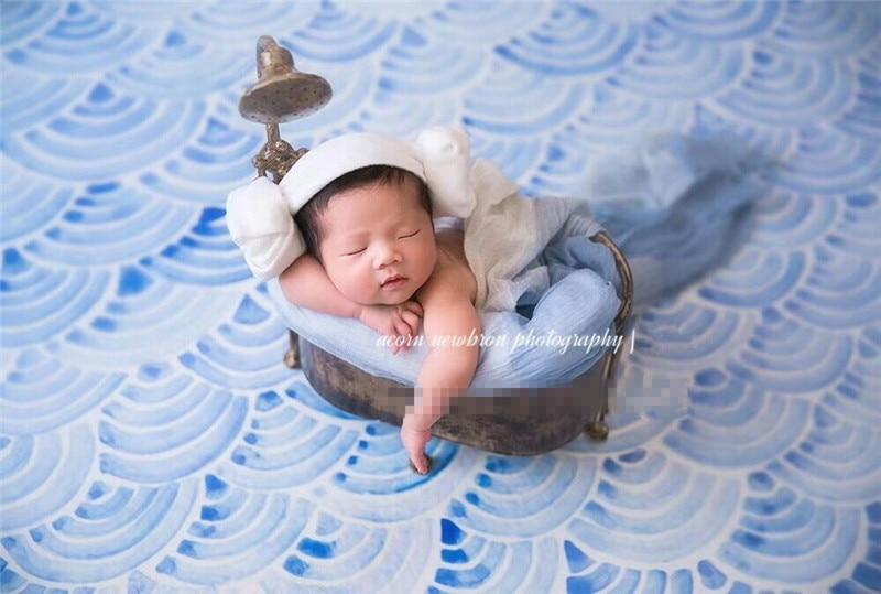 New Retro Creative Baby Wrought Iron Bathtub Newborn Photography Props Baby Bathtub Infant Basket Studio Photo