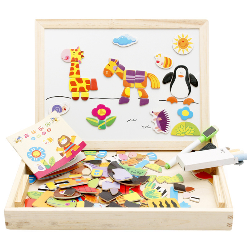 MWZ Children Wooden Double-Sided Sketchpad Animal Magnetic Joypin Jigsaw Puzzle CHILDREN'S Early Education Toy Jigsaw Puzzle