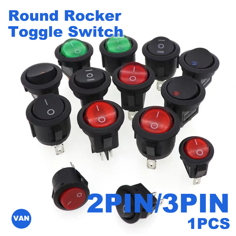 1PCS 2PIN/3PIN Red Black White ON/OFF 6A/250V Round Rocker Toggle Switch Plastic Push Button Switch(China)