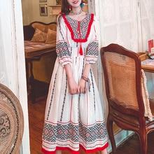 Skirt Female Embroidery National Style White Holiday Indian Dress Desert Skirt Dress Beach Skirt Fairy Kurta Pakistan Free