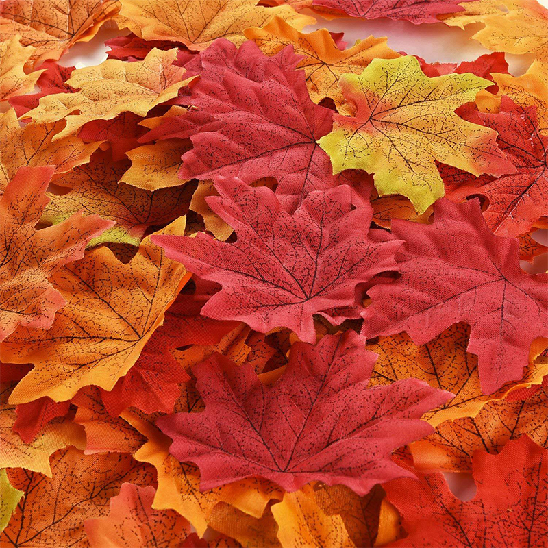 50pcs Artificial Maple Leaves For Halloween Decoration Autumn Leaves For Wedding Table Decorations Crafts Thanksgiving Day Decor