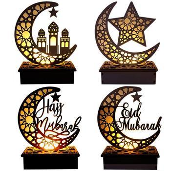 Drewniane EID doprowadziły światła wystrój stołu Eid Mubarak Ramadan Kareem wystrój Ramadan latarnia dla domu Eid AL Adha prezenty Eid Party Decor tanie i dobre opinie Gooparty CN (pochodzenie) wood
