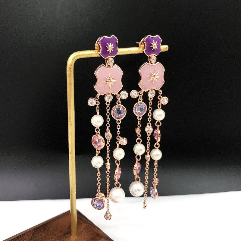 Haute qualité bijoux fantaisie rose bawn star boucles d'oreilles avec strass rose longueur perle gland boucles d'oreilles pour les bijoux de fête des femmes
