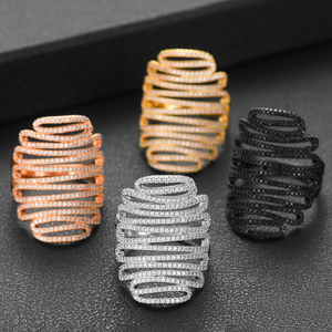 Image 1 - GODKI 2019 Trendy Stacks Charm Statement Ring for Women  Cubic Zircon Finger Rings Beads Charm Ring Bohemian Beach Jewelry