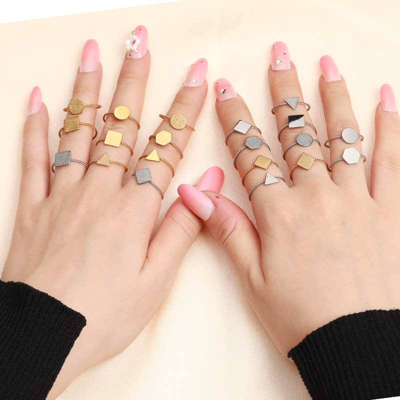 geometric stainless steel letter rings for women <font><b>wholesale</b></font> <font><b>lots</b></font> <font><b>bulk</b></font> letter ring set initial ring anillos inoxidable image
