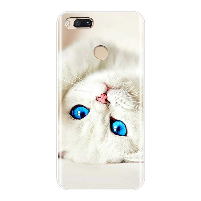 حقيبة لهاتف xiaomi mi A1 mi 5 mi 5X mi i5S mi 6 mi 6X mi 8 لينة سيليكون لطيف القط عودة جراب هاتف شاومي mi 5 5X5 S 6 6X8 SE حالة